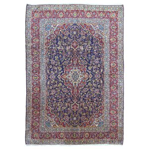 Reeve Persian Antique Kashan Hand Woven Wool Blue Area Rug