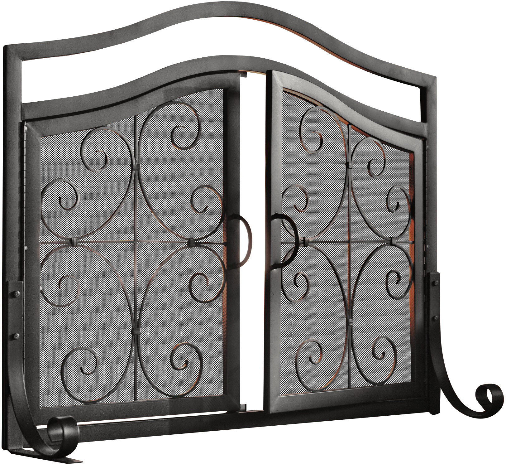 Plow \u0026 Hearth Small Crest Iron Fireplace Screen with Doors \u0026 Reviews   Wayfair  sc 1 st  Wayfair & Plow \u0026 Hearth Small Crest Iron Fireplace Screen with Doors \u0026 Reviews ...
