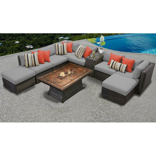 Fairfield 10 Piece Sectional Seating Group with Cushions by Sol 72 Outdoor