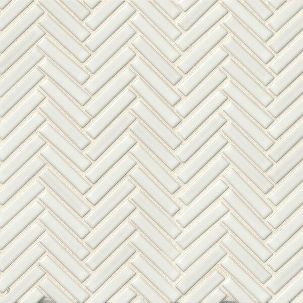Herringbone Mosaic 11 x 12.25 Porcelain Tile in White by Grayson Martin