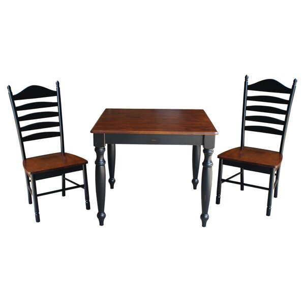 Henrietta 3 Piece Solid Wood Dining Set with Turned Legs by August Grove