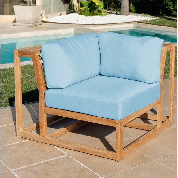 Zahn Teak Patio Chair with Sunbrella Cushions (Set of 2) by Rosecliff Heights