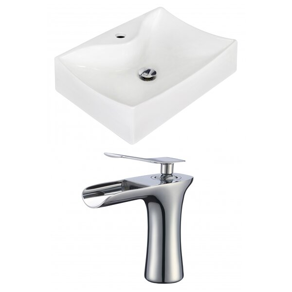 Ceramic 22 Wall Mount Bathroom Sink with Faucet by Royal Purple Bath Kitchen