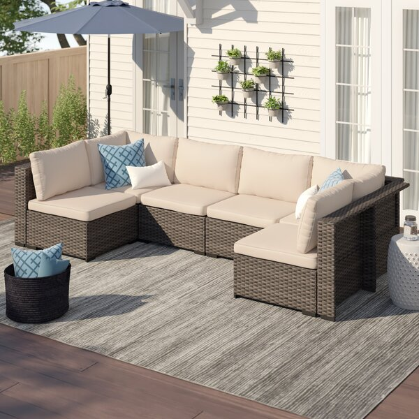 Holliston 6 Piece Rattan Sectional Seating Group Set with Cushions by Zipcode Design