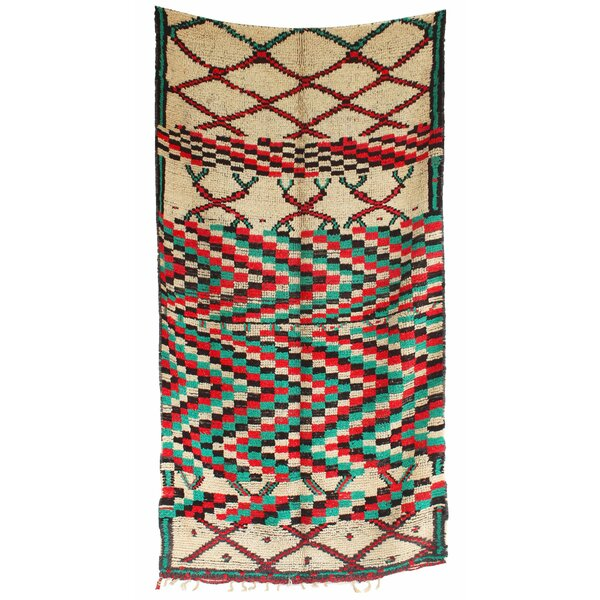 Azilal Vintage Moroccan Hand Knotted Wool Cream/Teal/Red Area Rug by Indigo&Lavender