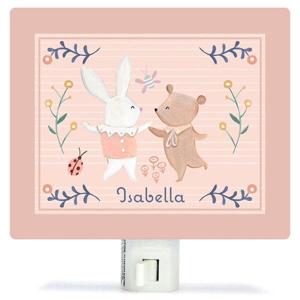 Personalized Bunny and Bear Dancers Canvas Night Light by Oopsy Daisy