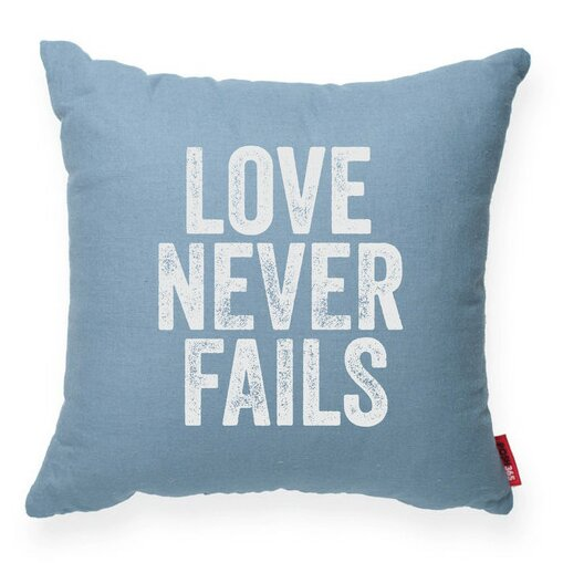 Expressive Love Never Fails Throw Pillow by Posh365