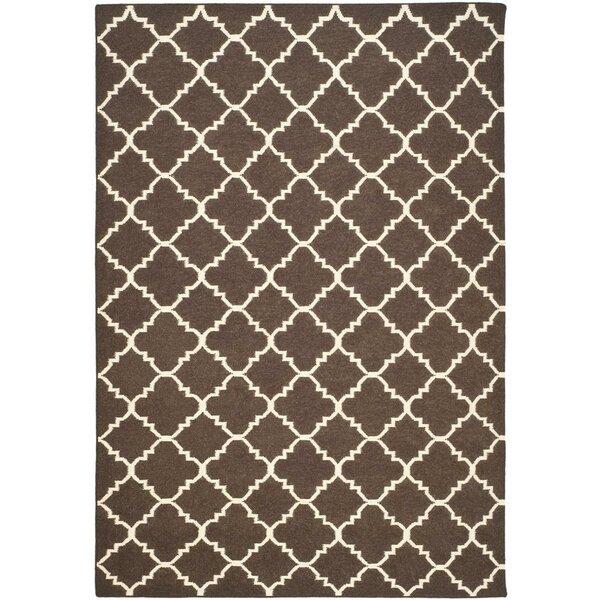 Dhurries Hand-Woven Wool Brown/Ivory Area Rug by Safavieh