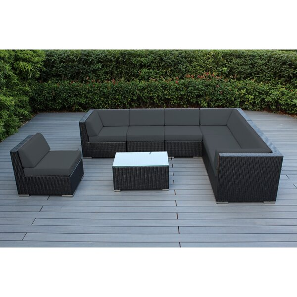 Baril 8 Piece Rattan Sectional Seating Group with Sunbrella Cushions by Wade Logan