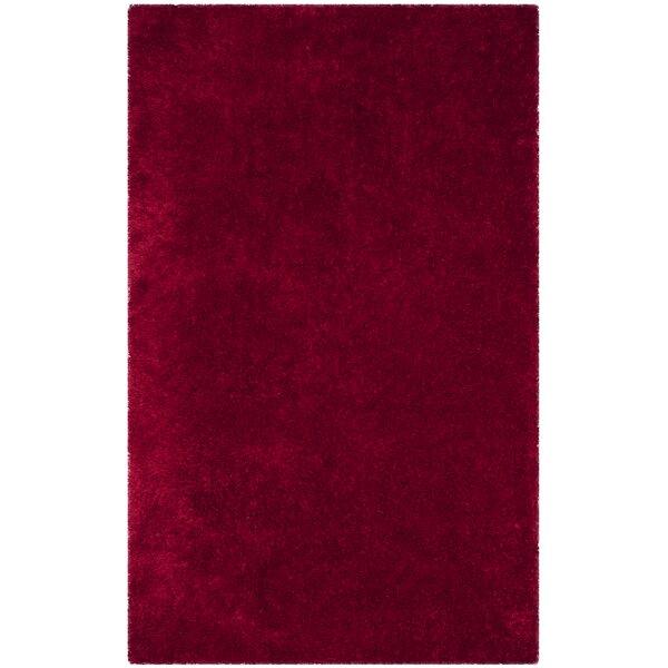 Shortt Shag Hand Tufted Red Area Rug by Mercer41
