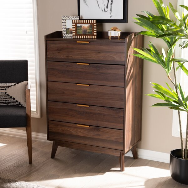 Kellner Mid-Century Modern Wood 5 Drawer Chest by George Oliver