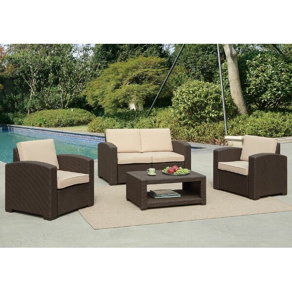 Antoinette Coastal 4 Piece Rattan Sofa Seating Group with Cushions by Darby Home Co