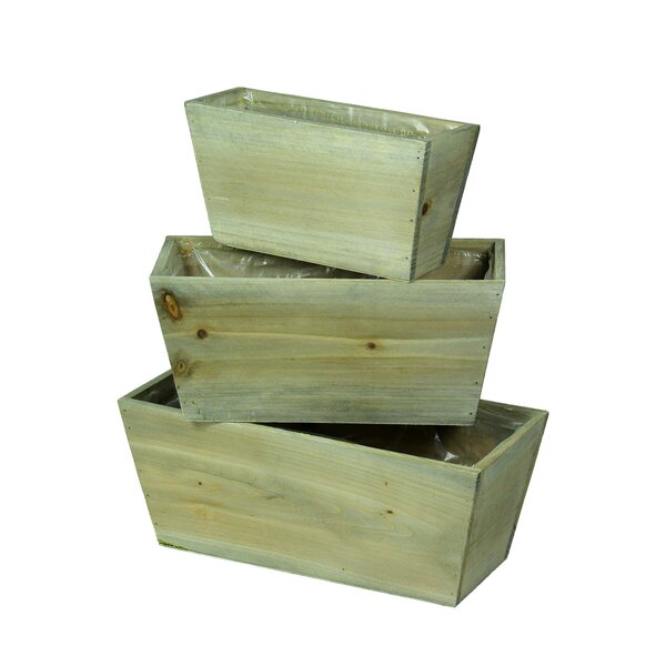Chiana Rectangular Flower 3 Piece Wood Planter Box by Highland Dunes