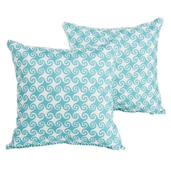 Estelle Waves Square Indoor/Outdoor Throw Pillow Set (Set of 2) by Bayou Breeze