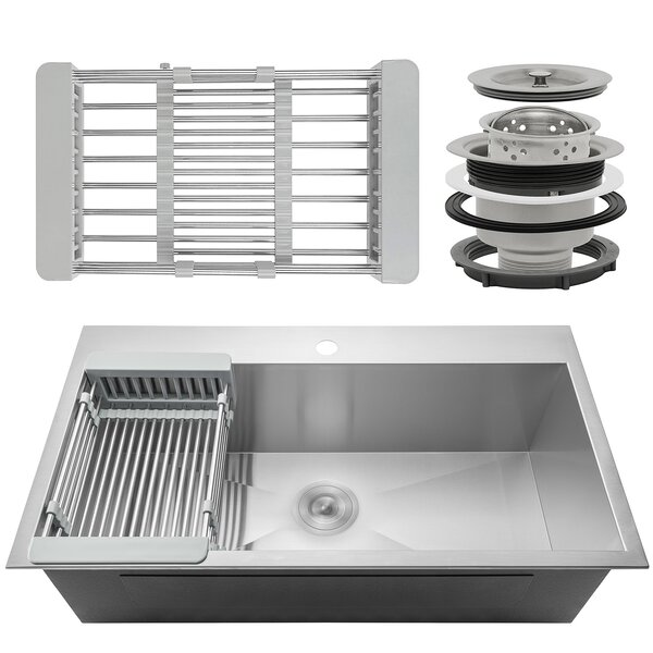 33 x 22 Drop-In Top Mount Stainless Steel Single Bowl Kitchen Sink w/ Adjustable Tray and Drain Strainer Kit by AKDY