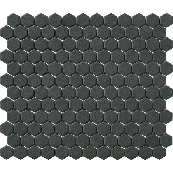 Urban Unglazed 1 x 1 Porcelain Mosaic Tile in Black Hexagon by Walkon Tile