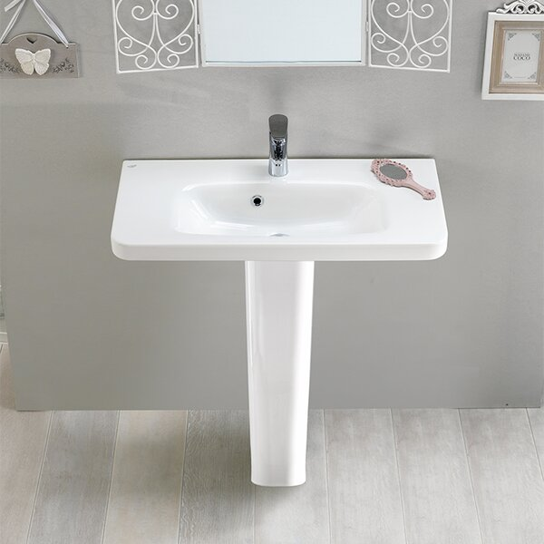 Noura Ceramic 32 Pedestal Bathroom Sink with Overflow by CeraStyle by Nameeks