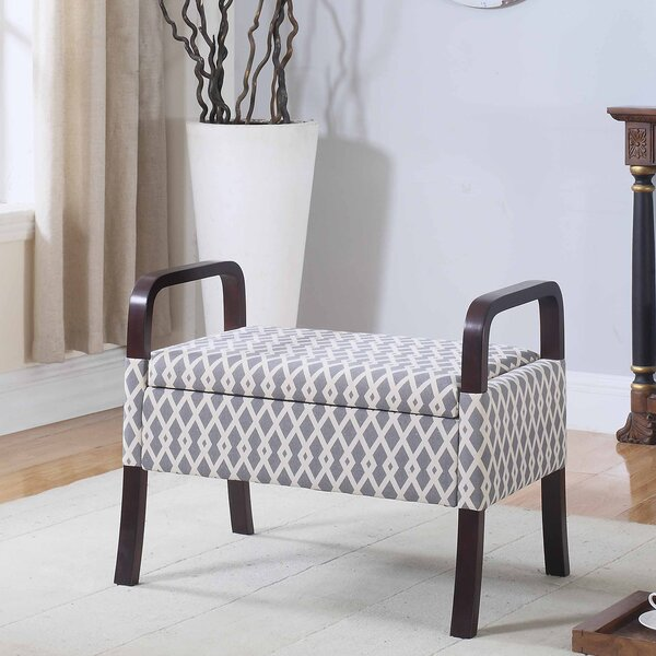 Reilly Triangle Trellis Wooden Arm Storage Vanity Bench by Latitude Run