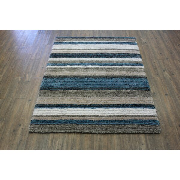 Harning Contemporary Multi Modern Design Shag Hand-Tufted Blue/Brown Area Rug by Red Barrel Studio