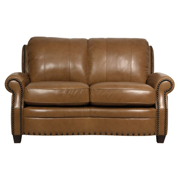 Hubbard Leather Loveseat by Darby Home Co Darby Home Co