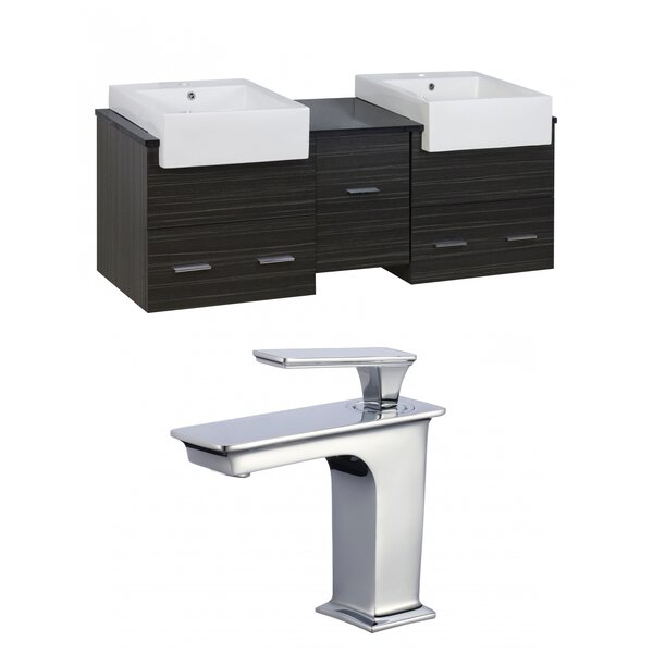 Hindman 60 Wall-Mounted Double Bathroom Vanity Set by Royal Purple Bath Kitchen