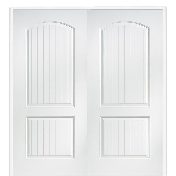 Cashal Arch Top Planked Primed Double MDF Panelled Prehung Interior Door by Verona Home Design