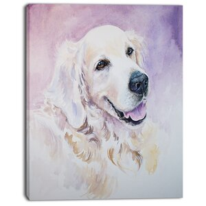 'Funny Golden Retriever' Painting Print on Wrapped Canvas by Design Art