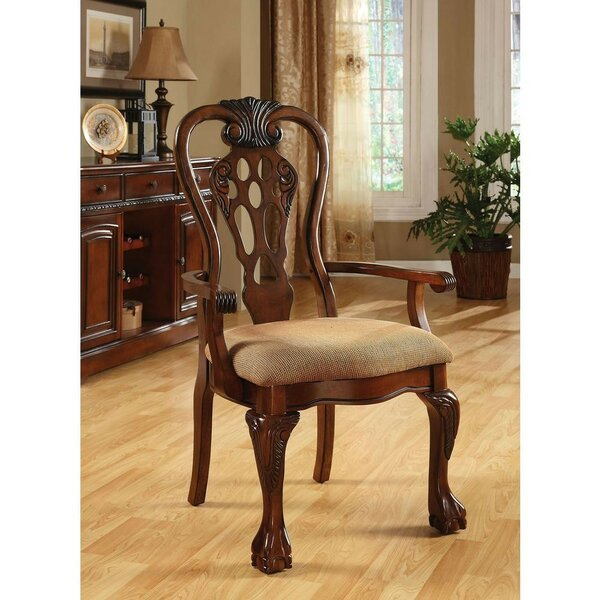 Robena Cotton Upholstered Ladder Back Arm Chair in Brown (Set of 2) by Astoria Grand Astoria Grand