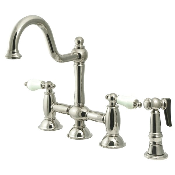 Restoration Bridge Faucet with Side Spray by Kingston Brass
