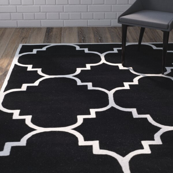 Wilkin Hand-Tufted Black/Ivory Area Rug by Wrought Studio