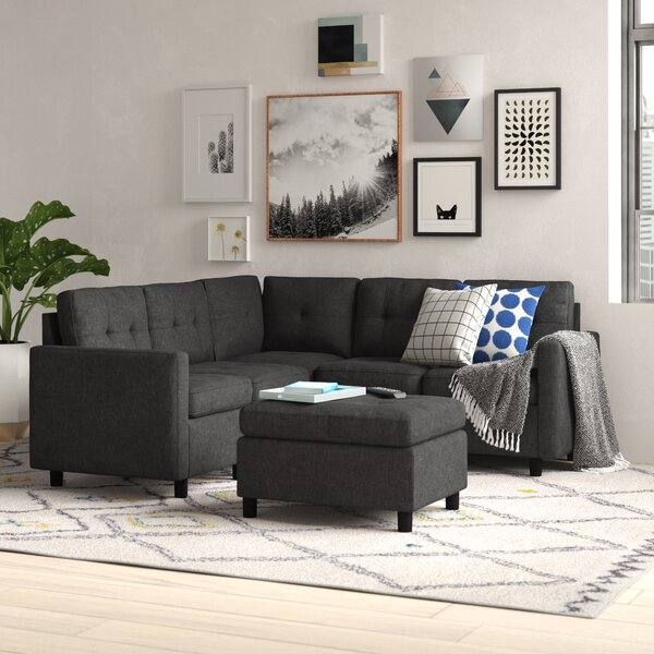 Brewer Modular Sectional with Ottoman by Trule Teen