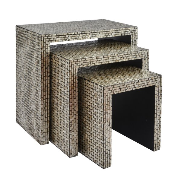Yeates Basket Weave 3 Piece Nesting Table by Rosecliff Heights