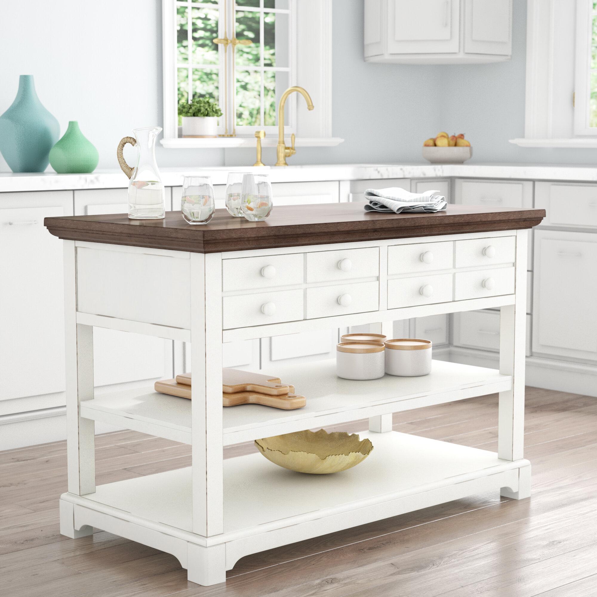 Rosecliff Heights Pineville Kitchen Island & Reviews  Wayfair