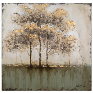 Between Bare Trees Painting Print on Wrapped Canvas by Laurel Foundry Modern Farmhouse