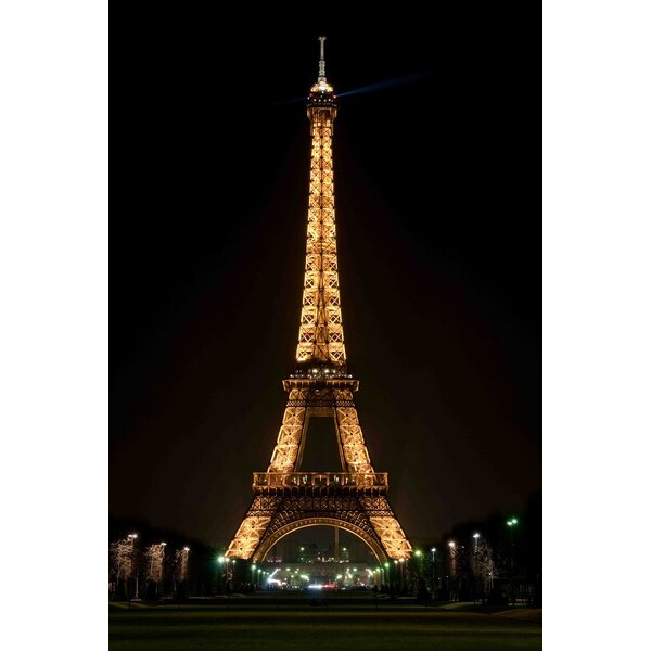 LED Lighted Famous Eiffel Tower Paris France at Night Photographic Print on Canvas by Northlight Seasonal