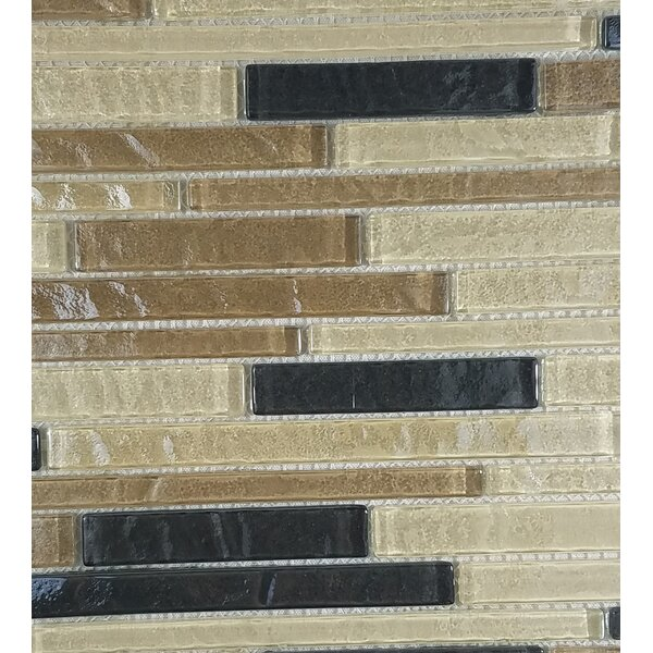 Geo Random Sized Glass Mosaic Tile in Brown Amazonia by Abolos