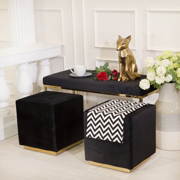 Tinley Solid Velveteen Metal Bench by Everly Quinn Everly Quinn