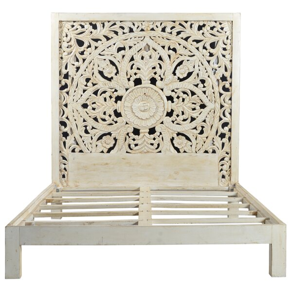 Bali Hand Carved Floral Medallion Painted Mango Queen Panel Bed by Porter International Designs