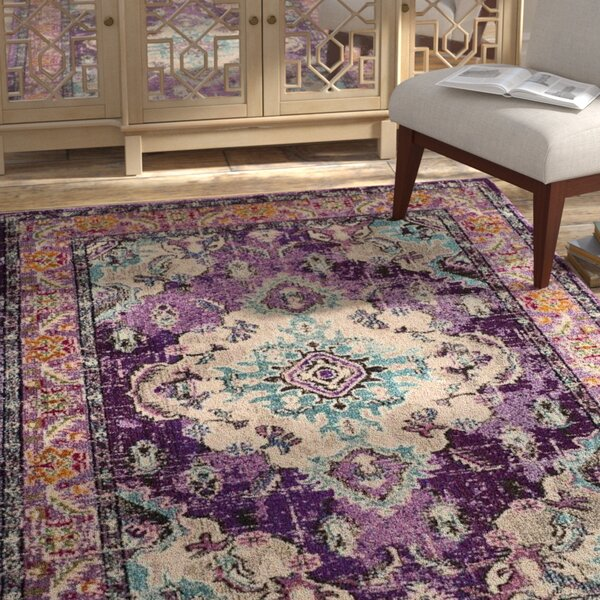 Annabel Violet/Light Blue Area Rug by Bungalow Rose
