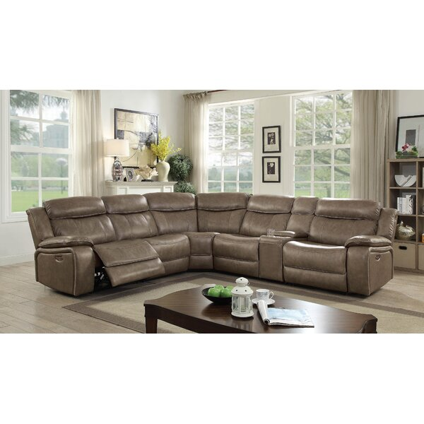 #2 Farwell Leather Sectional By Red Barrel Studio Amazing