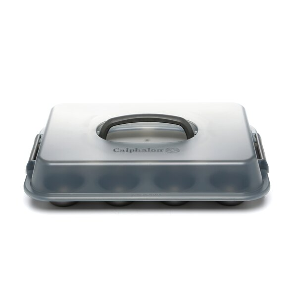 Nonstick 12 Cup Covered Cupcake Pan by Calphalon
