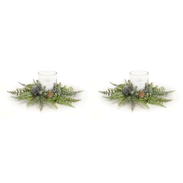 Fern and Succulent Plastic Votive Holder (Set of 2) by Union Rustic