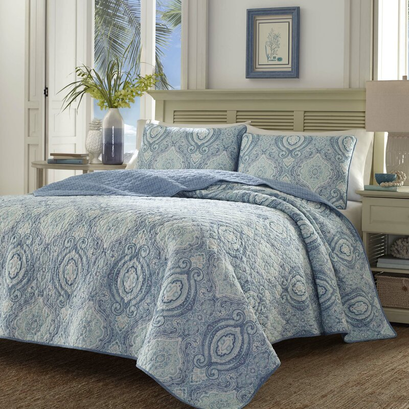 Tommy Bahama Bedding Turtle Cove Caribbean Blue Reversible Quilt ...