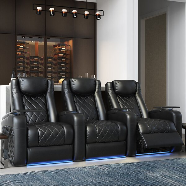 Azure HR Series Home Theater Recliner (Row Of 3) By Red Barrel Studio