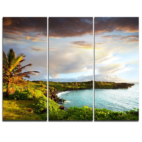 Hawaii Oahu Island - 3 Piece Photographic Print on Wrapped Canvas Set by Design Art