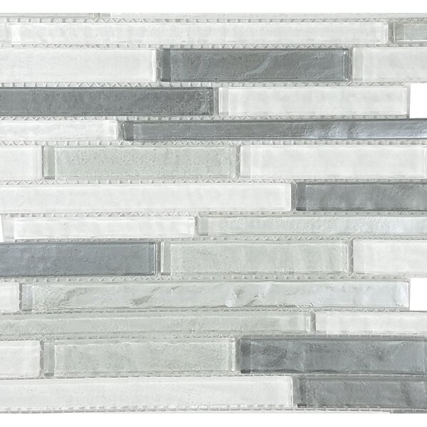 Geo Random Sized Glass Mosaic Tile in Blue Gray by Abolos