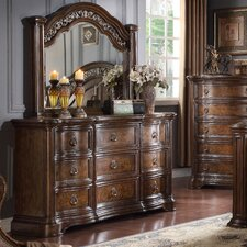 Boulogne Wood 9 Drawer Dresser with Mirror by Roundhill Furniture