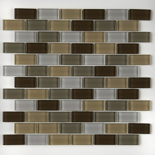 Geneva Brick-Joint 12 x 13 Glass Mosaic Tile in Classic Downtown Oasis by Itona Tile