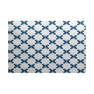 Reviews Abbie Geometric Blue Indoor/Outdoor Area Rug By Ebern Designs