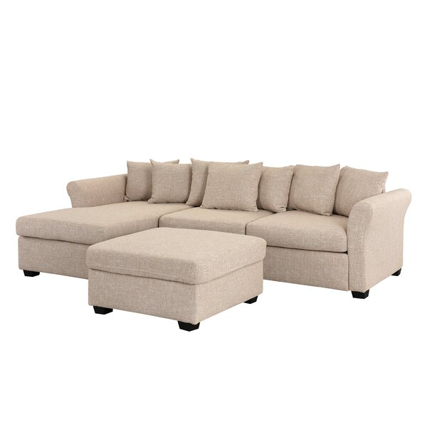 Excellent Reviews Ringgold Left Hand Facing Classic Sectional with Ottoman by Wrought Studio by Wrought Studio